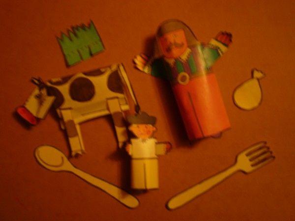 Пальчиковый театр: мужчина, мальчик, ложка, вилка, корова, мешок. Игрушки СССР - http://samoe-vazhnoe.blogspot.ru/ #театр_пальцы