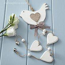 Dangly Bird Hearts -Painted