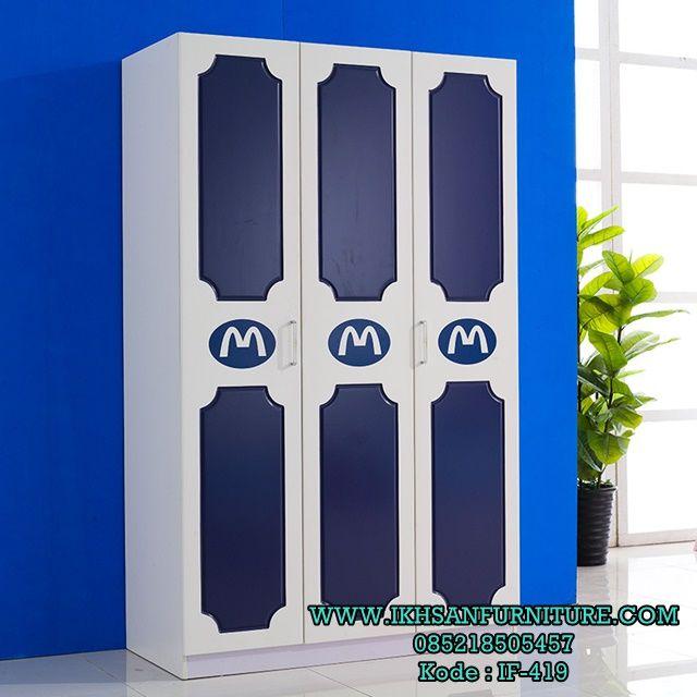 Lemari Baju Anak Minimalis Modern 3 pintu