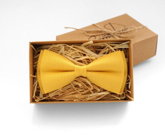 Bright yellow tie Bright yellow bow tie Yellow mens bow tie