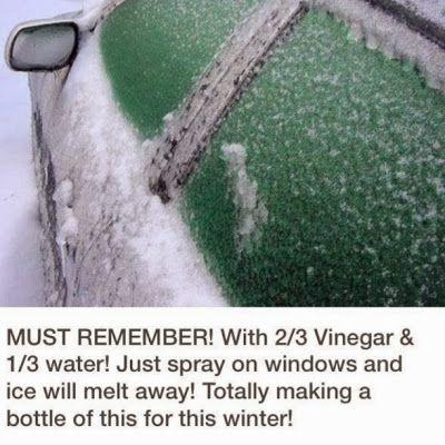 Bevroren ramen: 2/3 azijn met water in een fles en sprayen maar.
