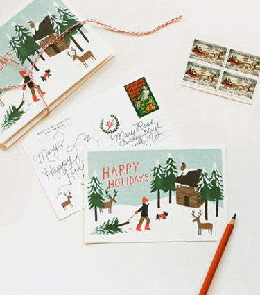 Ahh!  I love Anna Bond's stationery company, Rifle Paper Co., and these Holiday Postcards are adorable!