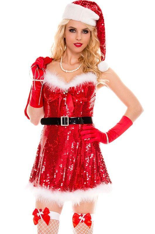 2017 Christmas Party Costume,Sexy Sparkly Miss Santa Costume Sex Products fantasias femininas Sexy Mini Dress #Affiliate