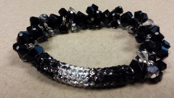 Black Rhinestone Glass Beaded Shamballa Cluster Bracelet