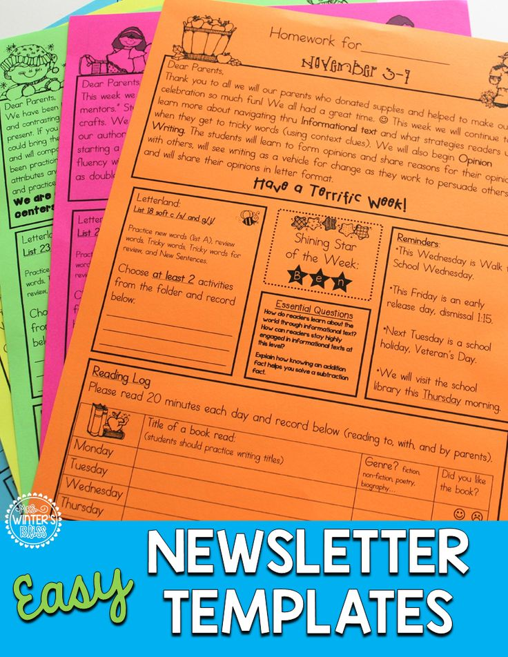 Editable newsletters and homework folders- An easy way to keep organized and communicate with Kindergarten, first, or 2nd grade parents!