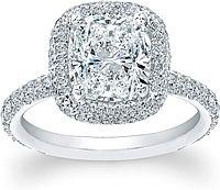 Thin Micro-pave Halo Diamond Engagement Ring