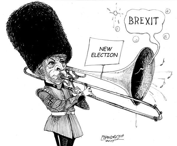 4/20/17 Petar Pismestrovic - Kleine Zeitung, Austria - Brass music - English - Theresa May, Great Britain, Brexit, Elections, EU, Europe