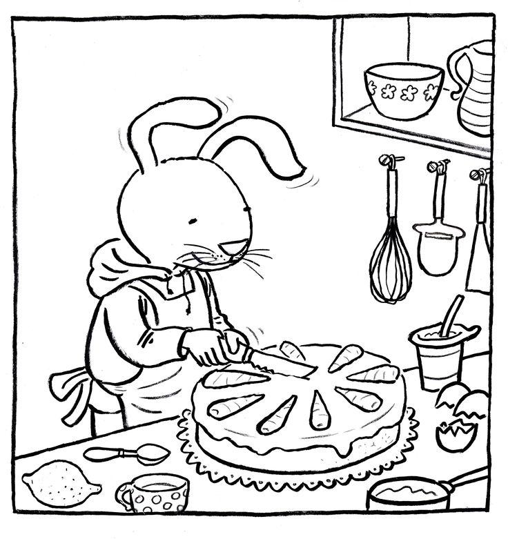 een vrolijke kleurplaat bij Haas wil worteltjestaart.Worteltjestaart aansnijden