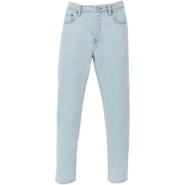 Acne Studios River Light Blue Jeans (7 745 UAH) ❤ liked on Polyvore featuring men's fashion, men's clothing, men's jeans, blue, mens tapered jeans, mens blue jeans, mens light blue jeans and mens tapered leg jeans