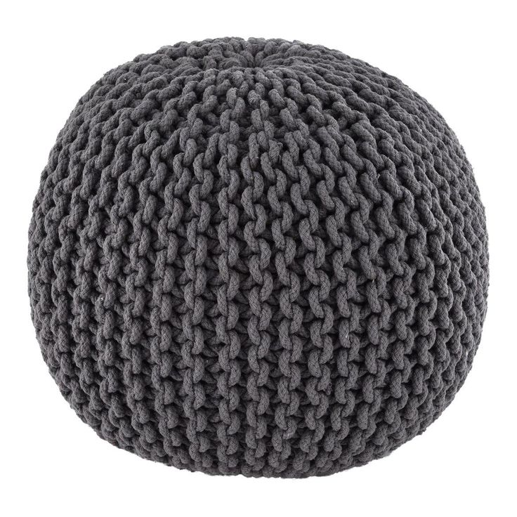 Gray Hand Knitted Pouf - Image 1 of 3