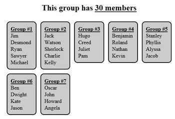 Randomly puts your students in groups. You can pick how many are in each group. Great time saver!  I project my on the screen & students get right to work!