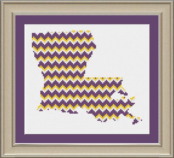 46 best lsu cross stitch images on pinterest crocheting patterns chevron stripe louisiana silhouette cool cross stitch pattern fandeluxe Gallery
