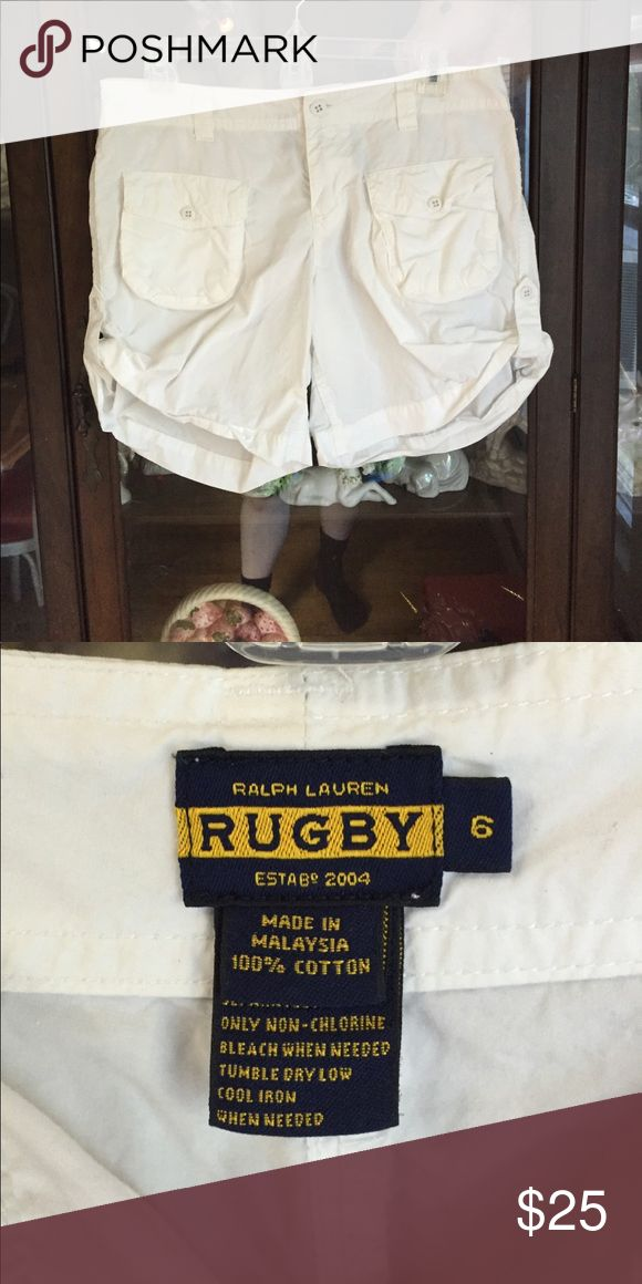 Women's Sharp White Ralph Lauren Rugby Shorts This item is in great shape! Ralph Lauren Rugby Shorts Cargos