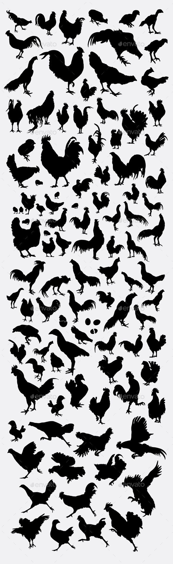 Rooster Collection Silhouette - #silhouettes #animals #characters #isolated #illustration #vector #template #rooster #chicken
