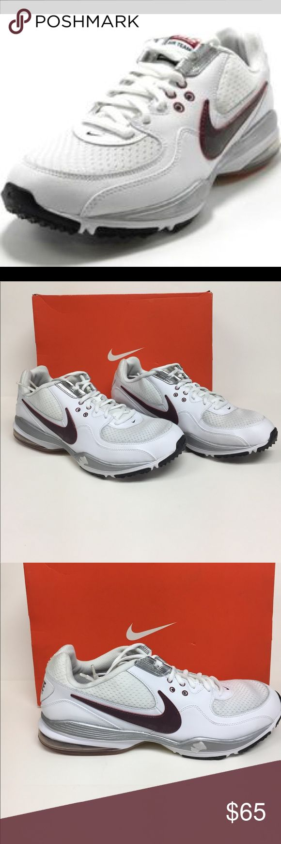 Nike Air Max Team St Running Shoe 407862 161 NIB White leather upper features gloss white overlays over breathable white mesh fabric lace up front. Glossy maroon red Nike swoosh. Soft foam like midsole with Max air heel chamber. High grip rubber outsole. Color is white/team red/black. Size 14 women's or men's 12 1/2. Can be either. Brand-new in box Nike Shoes Sneakers