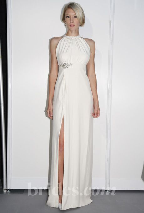 Elizabeth St. John Couture - 2013 - Alina Sleeveless Silk Sheath Wedding Dress with High Halter Neckline and Front Slit |