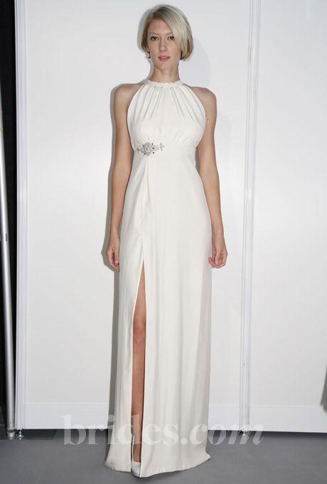 Elizabeth St. John Couture - 2013 - Alina Sleeveless Silk Sheath Wedding Dress with High Halter Neckline and Front Slit |