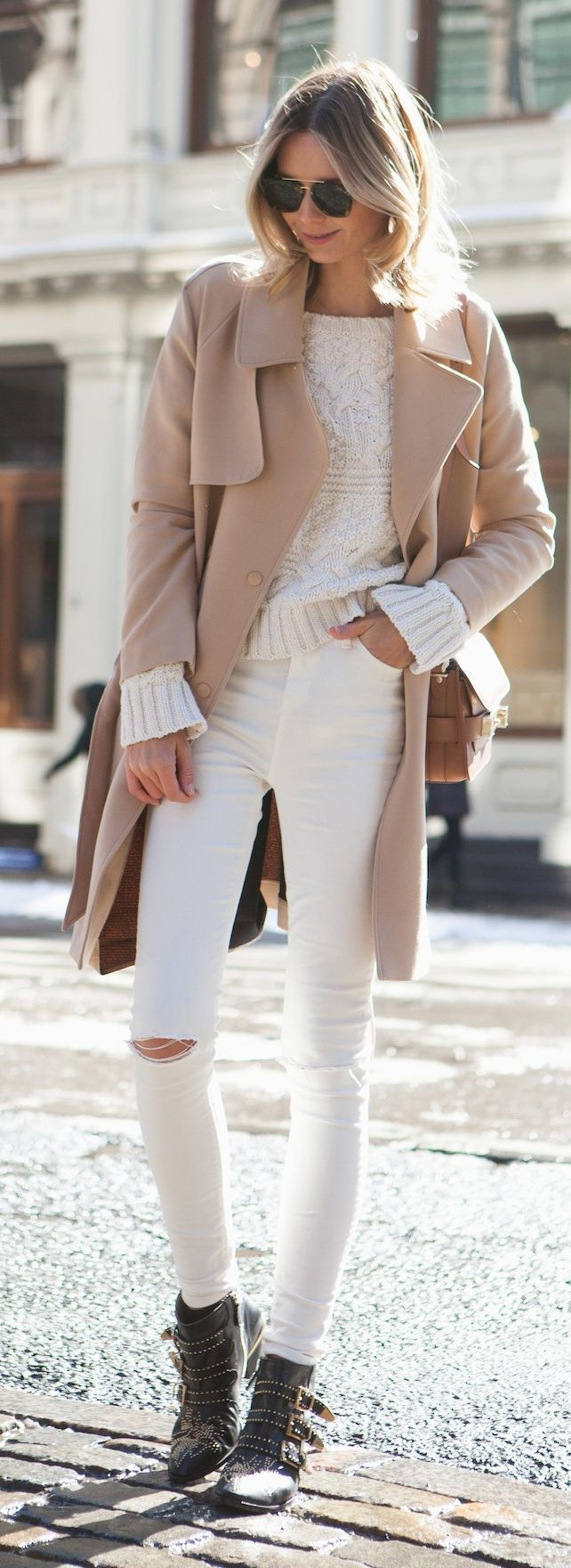 Asos trench, Zara knit, Topshop jeans, Chloe boots, Proenza Schouler bag, Celine sunglasses.