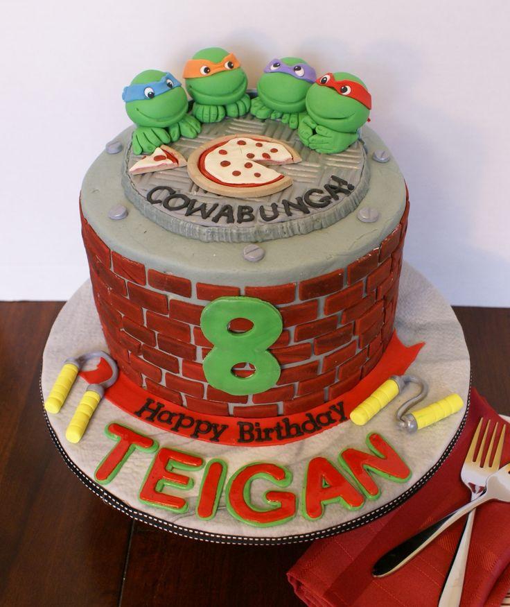 Ninja turtle Birthday - Ninja turtle chocolate fudge cake with cookies & cream filling. Lots of fun to make