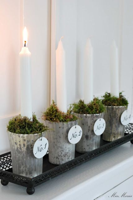 This may be done with cups, juice cups, water golblets. Simple country charm.