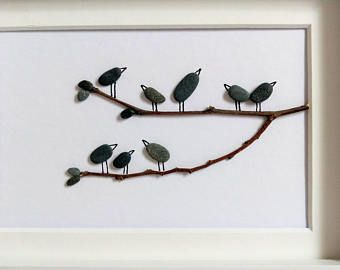 Unframed pebble art, birthday present, anniversary gift, nursery decor, cottage decor,  birds 5 by 7 by Jenny Love