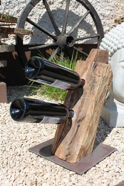 """Deko-Objekte - 2er Weinständer alter Eichenbalken """"Reblaus"""" - ein Designerstück von by-Andalura bei DaWanda"""