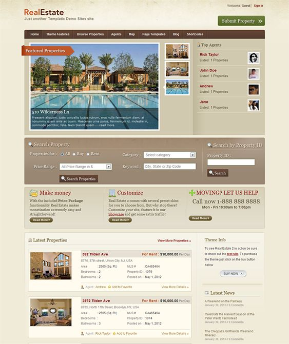 This real estate WordPress theme offers frontend submission, a dynamic gallery of featured properties, advanced multi category or property ID search, rotating testimonials, a detailed property listing page, a financial calculator widget, and more.