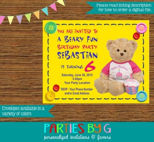 Build A Bear Birthday Party Invitations Custom Personalized