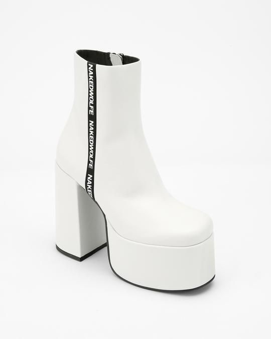b8b91770474 The high platform chunky leather ankle boot featuring an inside zip and Naked  Wolfe branding tape