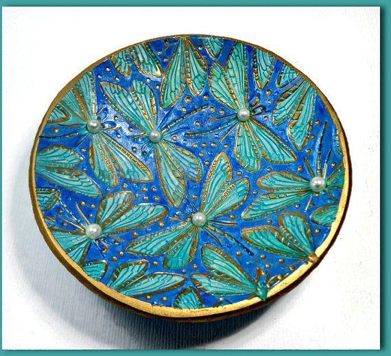 Turquoise bague libellule plat-pâte peint à la main plat