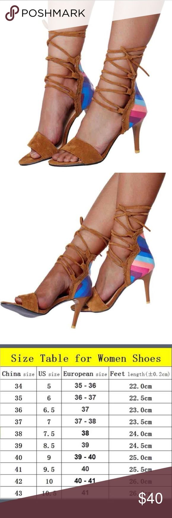 NWT Size 41 Euro (9.5) Rainbow Lace Up Heels New with tags. Suede straps. Lace up. Size 41 euro (9.5 Us) no flaws. Free gift Shoes Heels