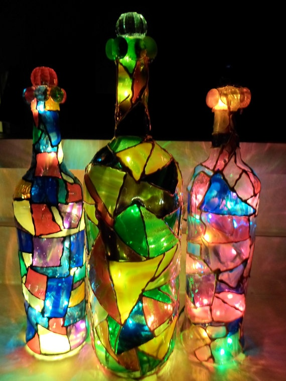 Mosaic Stained like Wine bottles by Yahairascreations on Etsy, $30.00
