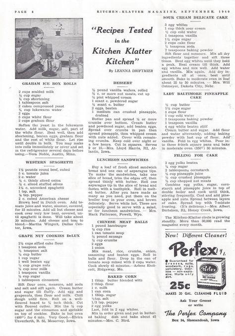Kitchen Klatter Magazine, September 1940 - Graham Ice Box Rolls, Western Spaghetti, Grape Nut Cookies, Dessert, Lunch Sandwiches, Chinese Meat Balls, Baked Corn, Sour Cream Delicate Cake, Pineapple Cake, Filling for Cake