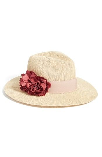 VINCE CAMUTO FLORAL TRIM STRAW PANAMA HAT - BEIGE.  vincecamuto ... e037f76ee07f