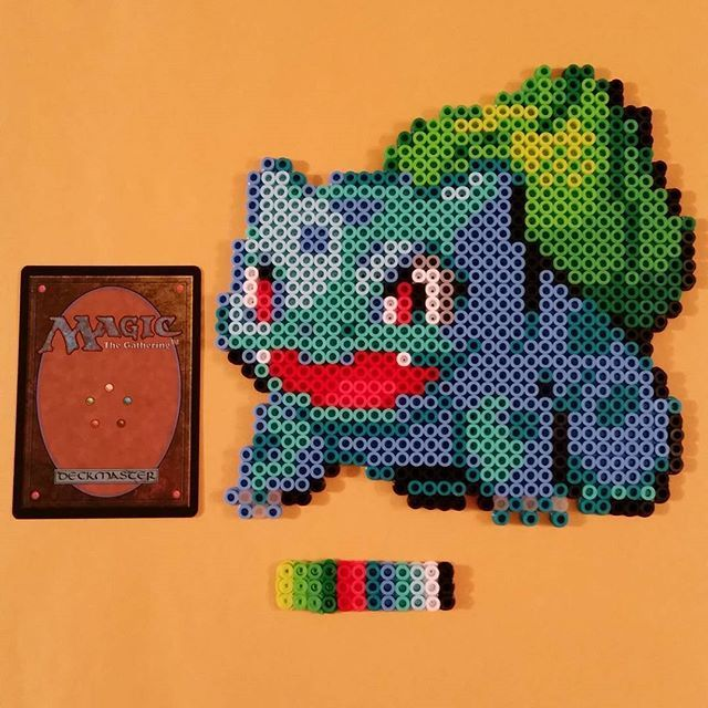 Couldn't sleep. Too busy catching them all. #001 #pokemon #bulbasaur #pokemon20 #pokemon20thanniversary #perler #sprite #beadsprite #perlerbeads #starter #starterpokemon #original150 #gaming #gameboy #gameboycolor #nintendo #gamefreak #nofilter