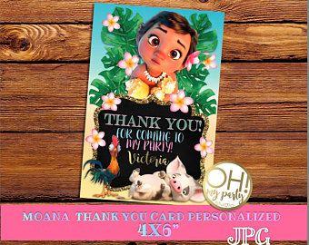 Gracias tarjeta Moana bebé, invitación de cumpleaños de Moana moana cumpleaños, moana gracias tarjeta, partido de moana, moana, gracias tarjeta
