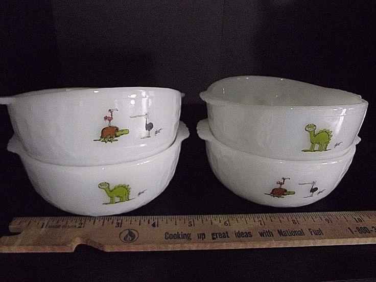 Grog Caveman BC Comic Johnny Hart Fire King Milk Glass Bowls set 4 Small Vintage #FireKing