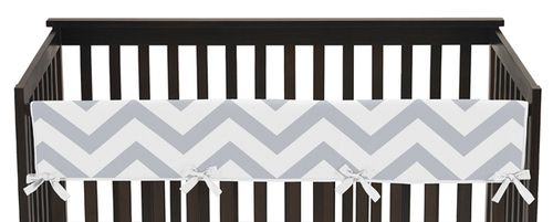 This modern grey-and-white chevron zig zag print long baby crib rail cover is great for keeping your baby safe while protecting the crib. #KidsRoom #BotiqueBedding