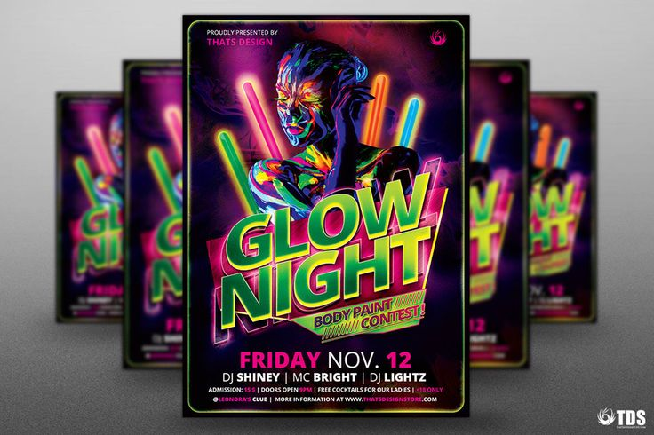 Glow Night Flyer Template PSD
