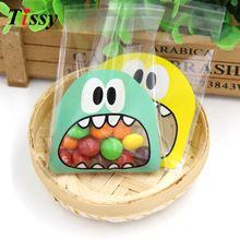 100 Stks/partij 7X7 CM Leuke Van Kleine Monster Candy Cookie zelfklevende Plastic Zak Voor Koekjes Snack bakken Pakket Levert(China (Mainland))