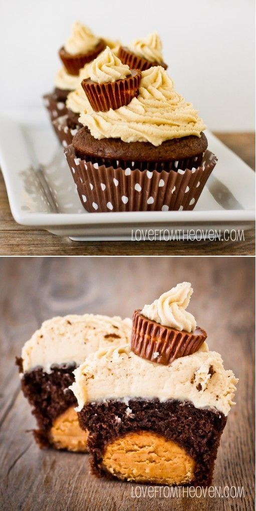 Peanut Butter Ball Chocolate Cupcakes with Peanut Butter Buttercream wanna try these in miniature