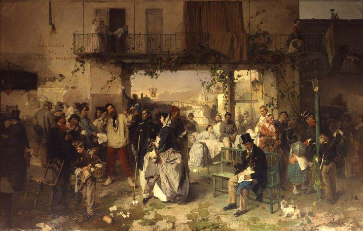 Museo del Risorgimento, Palazzo Moriggia, Domenico Induno, Il bullettino del giorno 14 luglio 1859 che annunziava la pace di Villafranca, 1862
