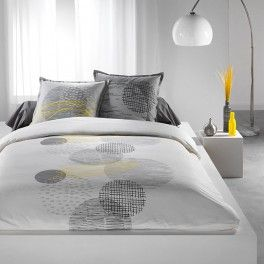 housse de couette et taie blanc jaune gris et noir chambre pinterest. Black Bedroom Furniture Sets. Home Design Ideas