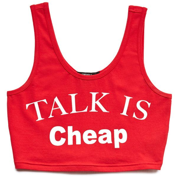FOREVER 21 Talk Is Cheap Crop Top (120 ZAR) ❤ liked on Polyvore featuring tops, crop tops, shirts, forever 21, crop, red shirt, scoop neck crop top, forever 21 shirts, red sleeveless top and graphic crop tops