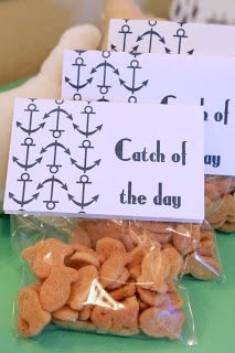 Gold Fish in a bag …Catch of the Day! little miss priss nautical first birthday party | kojodesigns