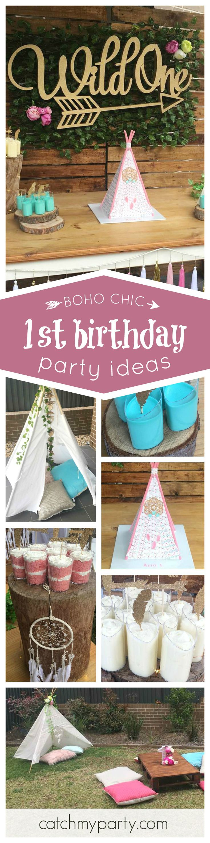 This boho chic 1st birthday is just adorable! The tent birthday cake is amazing!! See more party ideas and share yours at CatchMyParty.com