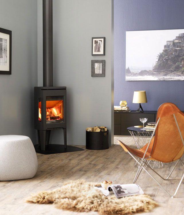 Jotul F 163 C wood burning stove white in room setting