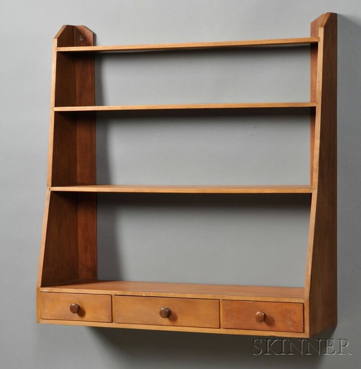 Shaker Maple, Birch and Pine Hanging Wall Shelf with Three drawers, possibly a New Hampshire Shaker community, c. 1830-40, thin red-washed surface, 37.5 H. x 36.25 D. x 10 D.