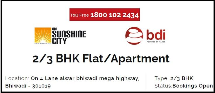 Located on 4 Lane Alwar Bhiwadi Mega Highway, Bhiwadi, Sunshine City is a brand new residential #project of BDI Group that offers luxurious 2 Bhk flat in  #Alwar with true value for #money. Call +91 9891622223 for details.