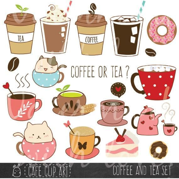 Coffee And Tea Clipart Donut And Latte Clipart Baking Clipart